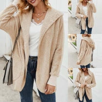 Fashion Solid Color Long Sleeve Hooded Plush Coat