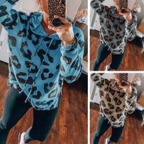 Fashion Leopard Printed Long Sleeve Hooded Sweatshirt