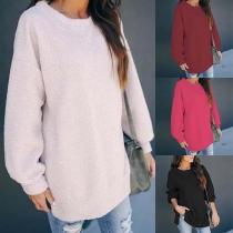 Fashion Solid Color Round Neck Slit Hem Plush Sweatshirt