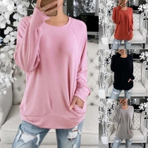 Casual Style Long Sleeve Round neck Solid Color T-shirt