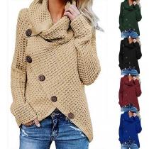 Fashion Long Sleeve Cowl Neck Front-button Irregular Hem Sweater