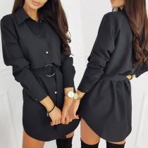 OL Style Long Sleeve POLO Collar Solid Color Shirt Dress