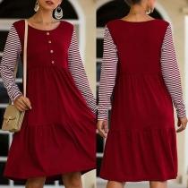 Fashion Striped Spliced Long Sleeve Round Neck High Waist Dress