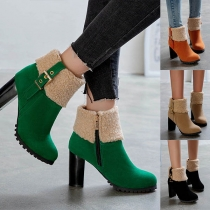 Fashion Thick Heel Round Toe Plush Spliced Ankle Boots Booties