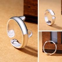 Cute Cat Ear shaped Alloy Open Ring
