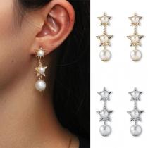 Fashion Imitation Pearl Inlaid Star Earrings