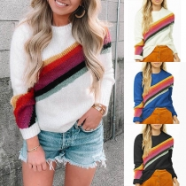 Fashion Rainbow Striped Spliced Long Sleeve Round Neck Sweater