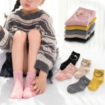 Cute Cat Pattern Bow-knot Kids Socks 5 Pairs/Set