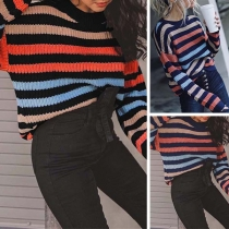 Fashion Long Sleeve Round Neck Striped Sweater