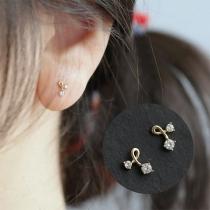 Fashion Rhinestone Inlaid Twisted Stud Earrings