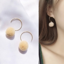 Fashion Hairball Pendant Semicircle Shaped Earrings
