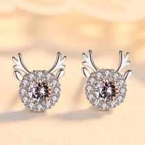 Fashion Rhinestone Inlaid Antlers Shaped Stud Earrings