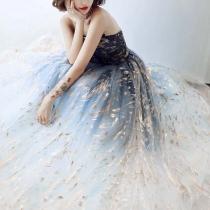 Embroidered Slim Off Shoulder Long Strapless Party Dress