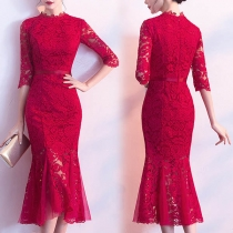 Elegant Red Lace Mid-length Fishtail Party Dress