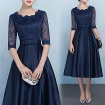 Evening dress new mid-length dress fashion mid-sleeve dress