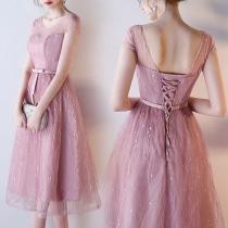 Elegant Pink Organza Banquet Party Evening Dress