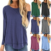 Fashion Solid Color Long Sleeve Round Neck High-low Hem T-shirt