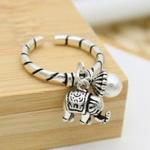 Retro Style Elephant Pendant Alloy Open Ring