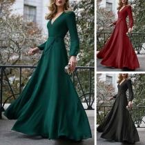 Sexy Deep V-neck Long Sleeve High Waist Solid Color Maxi Dress