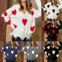 Sweet Style Heart Pattern Long Sleeve V-neck Tassel Sweater