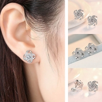Fashion Rhinestone Inlaid Flower Shaped Stud Earrings
