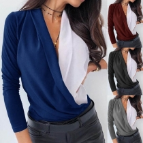 Sexy Deep V-neck Long Sleeve Contrast Color Blouse(It falls small)