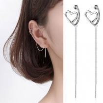 Fashion Hollow Out Heart Long Tassel Earrings