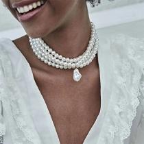 Fashion Multi-layer Pearl Choker Necklace