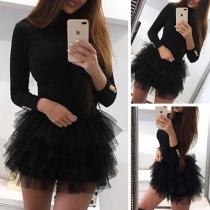 Sexy Gauze Spliced Hem Long Sleeve Slim Fit Mini Dress Super Mini Short Dress