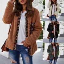 Fashion Leopard Spliced Long Sleeve Plush Coat