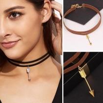 Simple Style Arrow Pendant Double-layer Choker Necklace