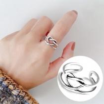 Retro Style Braided Heart Shaped Alloy Ring