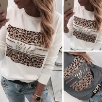 Fashion Rhinestone Spliced Leopard Printed Round Neck Shirt