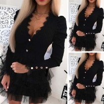 Sexy Lace Spliced V-neck Long Sleeve Gauze Hem Slim Fit Mini Short Dress