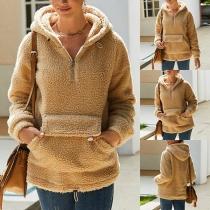Fashion Solid Color Long Sleeve Hooded Plush Sweatshirt