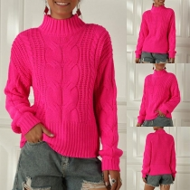 Fashion Solid Color Long Sleeve Mock Neck Sweater