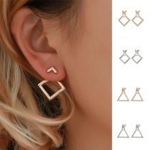 Simple Style Hollow Out Square/Triangle Shaped Stud Earrings