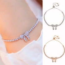 Sweet Style Rhinestone Inlaid Bow-knot Bracelet