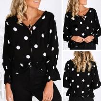 Fashion Long Sleeve V-neck Dots Printed Blouse