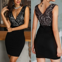 Sexy V-neck Sleeveless Slim Fit Lace Spliced Dress