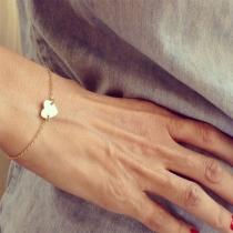 Simple Style Heart Pendant Alloy Bracelet