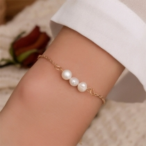 Simple Style Pearl Inlaid Bracelet