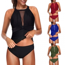 Sexy Backless Gauze Spliced Solid Color Swimsuit Set