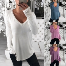 Simple Style Long Sleeve V-neck Solid Color T-shirt