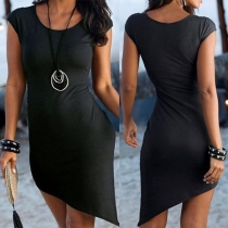Fashion Solid Color Sleeveless Round Neck Irregular Hem Dress