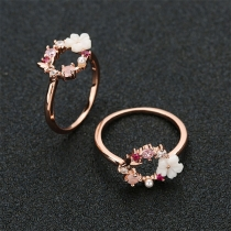 Sweet Style Rhinestone Flower Inlaid Ring