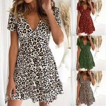 Sexy V-neck Short Sleeve High Waist Leopard Printed Dress