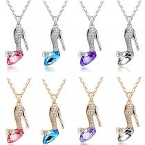 Fashion Rhinestone Inlaid Crystal Shoe Pendant Necklace
