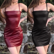 Sexy Backless Slim Fit Sling PU Leather Dress