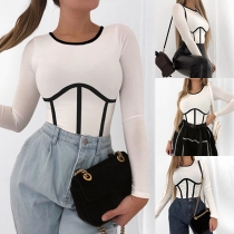 Fashion Contrast Color Long Sleeve Round Neck Crop Top